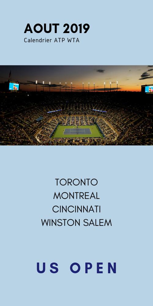le calendrier tennis au mois d'aout