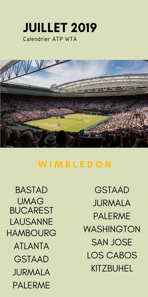 le calendrier tennis du mois de juillet