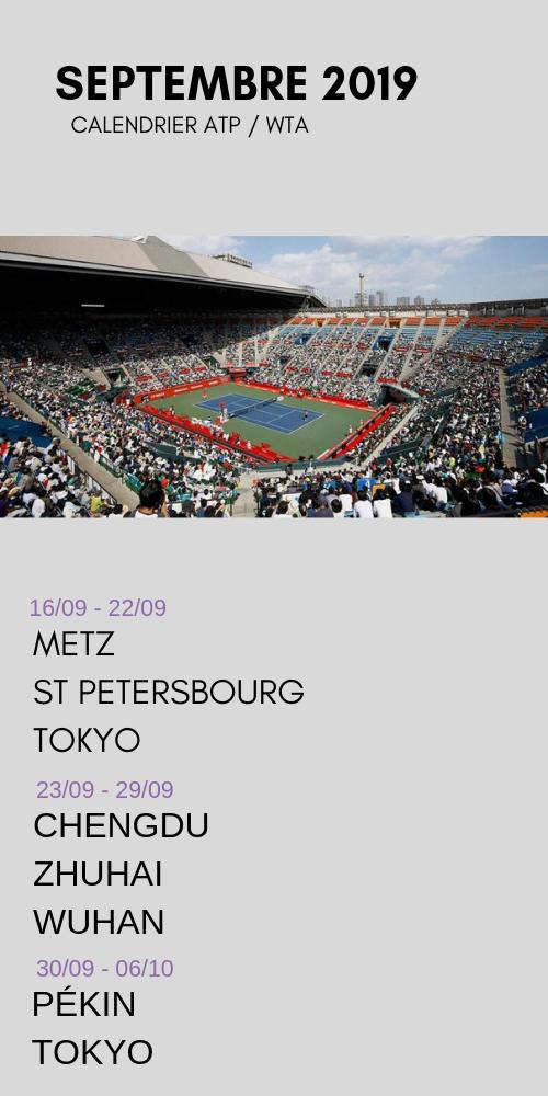le calendrier tennis du mois de septembre